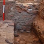 Settore 4000: particolare della muratura est all'interno della vasca centrale.
