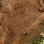 Settore 4000: lacerto di pavimentazione in cocciopesto in corrispondenza dell'accesso al sacellum.