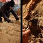 Fase di scavo: messa in luce di un oggetto in bronzo